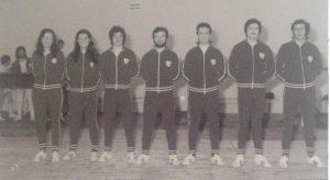 Cesena, 1976 - Palestra Ippodromo. Il gruppo istruttori: (da sinistra) Ceredi, Conti, Pieri, Lanzoni, Consalici, Ceccarelli, Medri