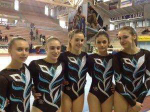Ancona, Febbraio 2013. La squadra in Serie A1. Da sinistra: Alice Linguerri, Agnese Giacchi, Sophie Ghetti, Giulia Suriani e Caterina Severi